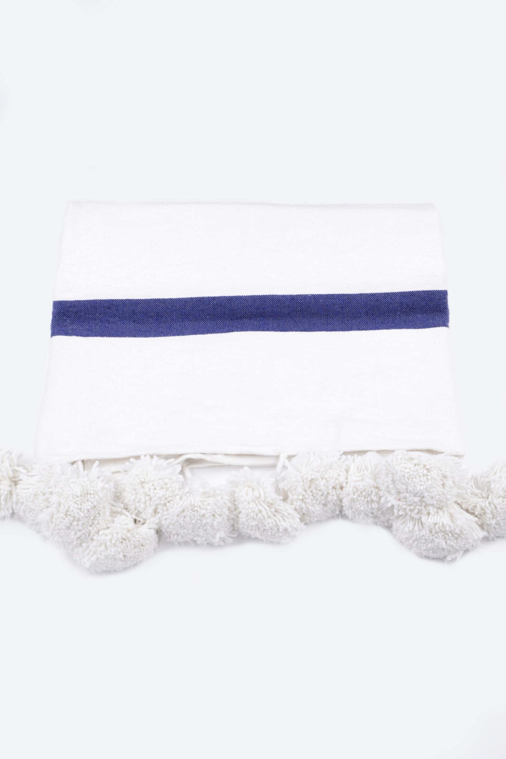 Plaid blanc lignes bleus